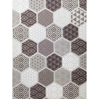 Curtain with geometric forms in brown