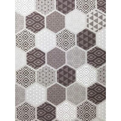 Плат за плътна завеса с геометрични форми в кафяво