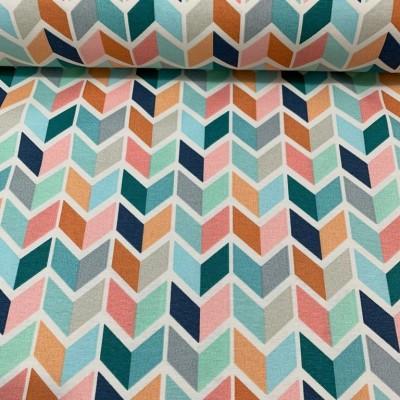 Плат за плътна завеса и дамаска с цветна геометрия