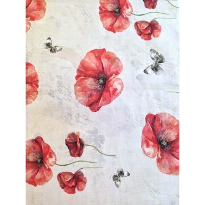 Curtain with red poppies