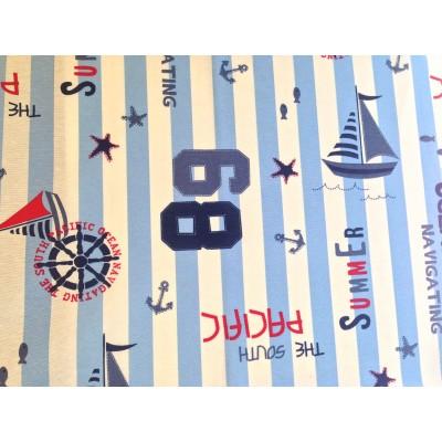 Плат за плътна детска завеса с морски десен райе в синьо и бяло