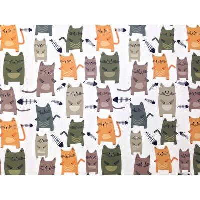 Плат за плътна детска завеса с дигитален печат Стилизирани котки в оранжево, сиво и зелено