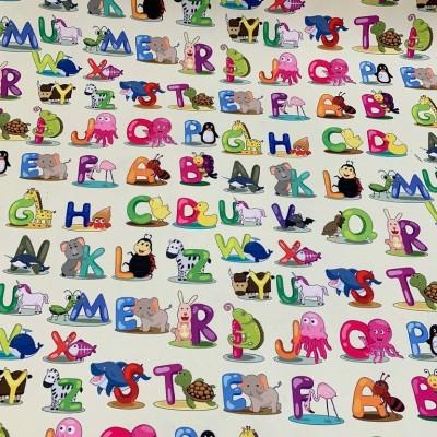 Плат за плътна детска завеса с дигитален печат Азбука