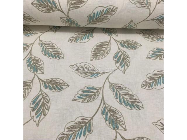 Плат за плътна завеса и дамаска с листа в сиво и синьо