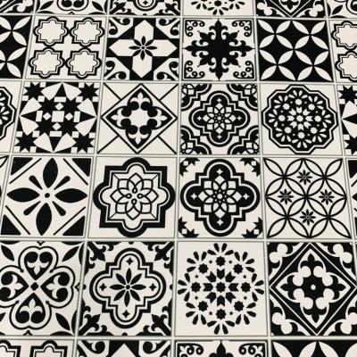 Плат за плътна завеса и дамаска с дигитален печат Испански плочки в черно и бяло