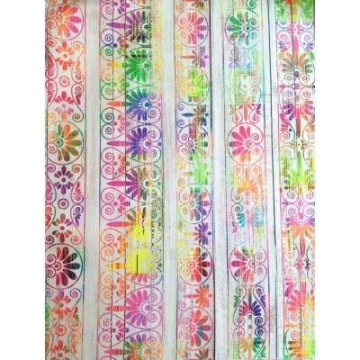 Curtain with digital stamp with colorful ornaments