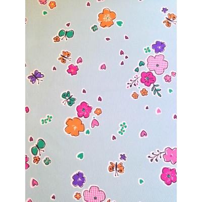 Плат за плътна детска завеса с цветя и пеперуди на син фон