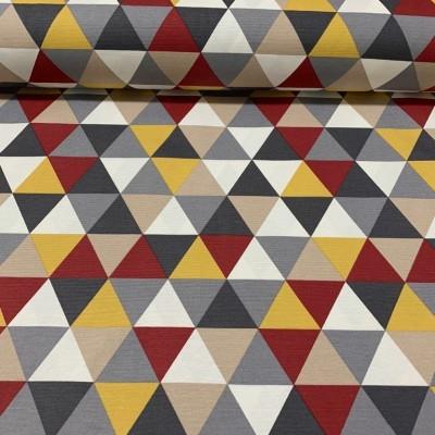 Плат за плътна завеса и дамаска с геометрични форми в бордо, жълто и сиво