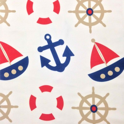 Curtain for children with maritime motifs in blue and red