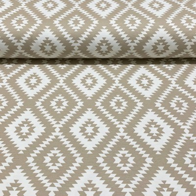 Curtain and upholstery with rhombuses in beige and white