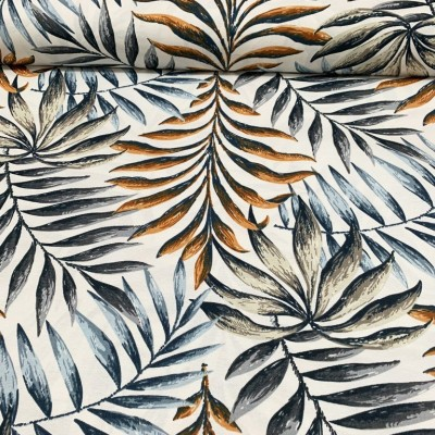 Плат за плътна завеса и дамаска с палмови листа на бял фон