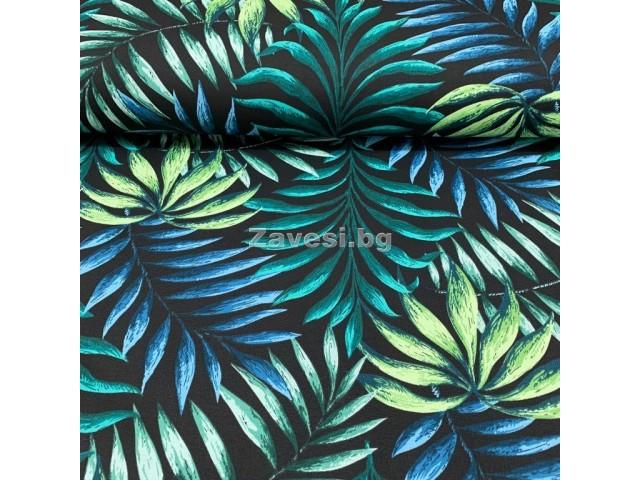 Плат за плътна завеса и дамаска с палмови листа на черен фон