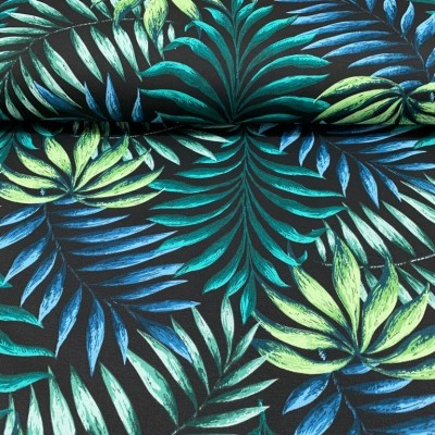 Curtain and upholstery with palm leaves on black background