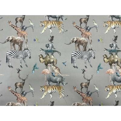 Плат за плътна детска завеса с животни на сив фон