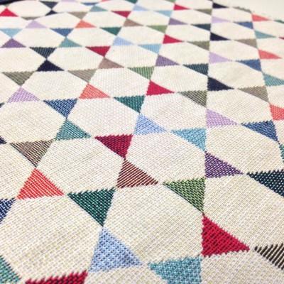 Жакардов плат за плътна завеса и дамаска с цветни триъгълници