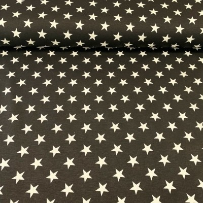 Curtain and upholstery with stars on black background