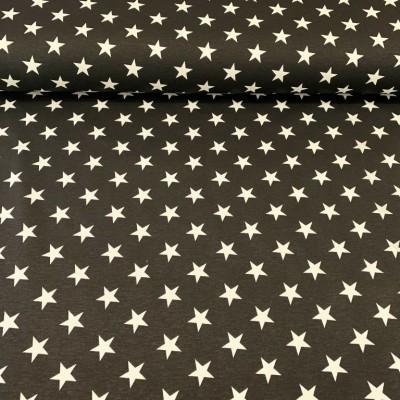 Плат за плътна завеса и дамаска със звездички на черен фон