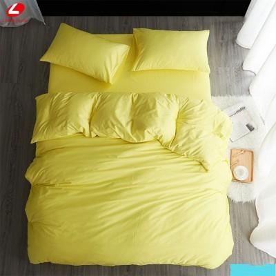 Едноцветен двоен спален комплект ранфорс в бледо жълто