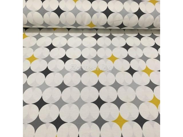Плат за плътна завеса и дамаска на кръгове в жълто и сиво