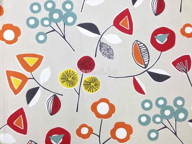Плат за плътна завеса с модерна щампа на цветя