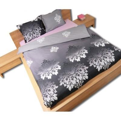 Двоен спален комплект с два плика ранфорс Вик в сиво