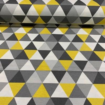 Плат за плътна завеса и дамаска с геометрични форми в жълто и сиво