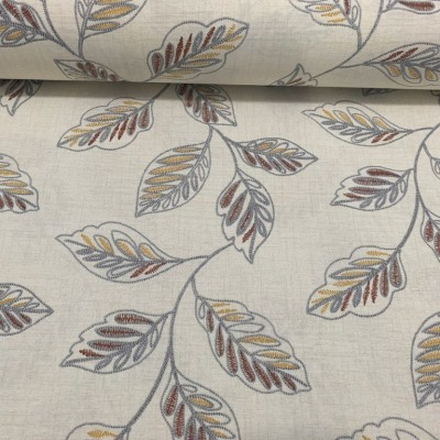 Curtain and upholstery with leaves in brown