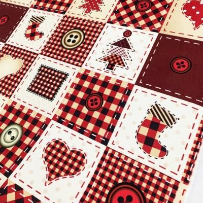 Коледен плат за покривки с червено каре