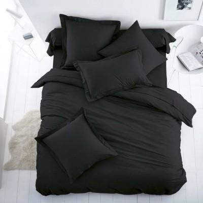 Едноцветен единичен спален комплект ранфорс в черно