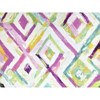 Ленен плат за плътна завеса и дамаска с ромбове в лилаво