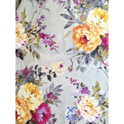 Curtain with abstract flowers in yellow and red on grey background