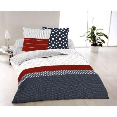 Единичен спален комплект ранфорс в бяло, синьо и червено