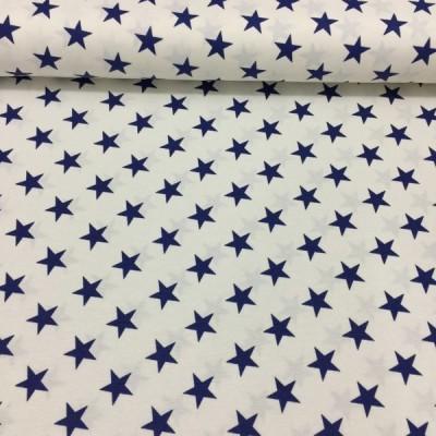 Плат за плътна завеса и дамаска с тъмно сини звезди