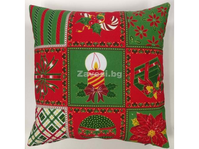 Коледна декоративна възглавничка в червено и зелено