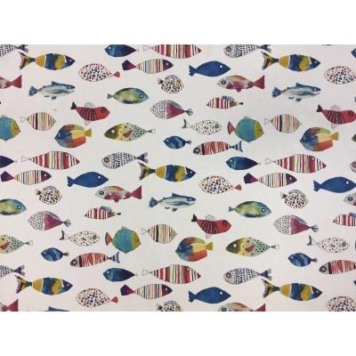 Плат за плътна детска завеса със стилизирани шарени рибки
