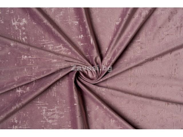 Едноцветен плат за плътна завеса тип кадифе в розово с шарка