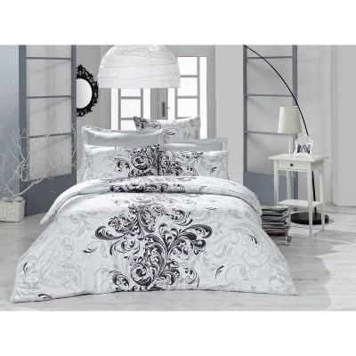Единичен спален комплект ранфорс в бяло със сиво-черни мотиви