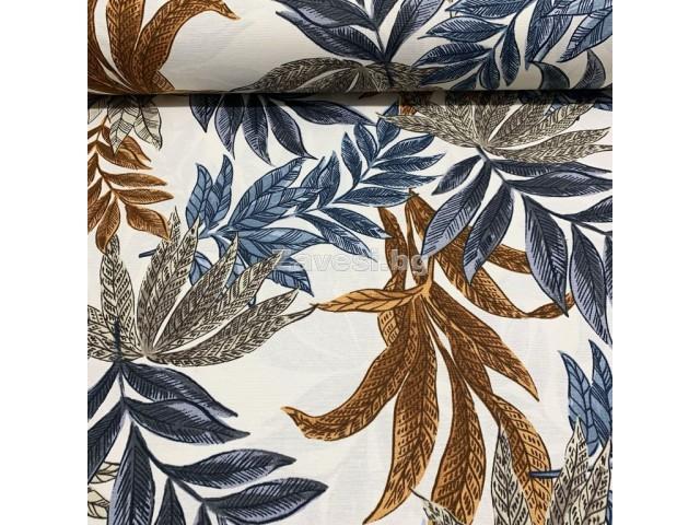 Плат за плътна завеса и дамаска с тропически листа в синьо и кафяво
