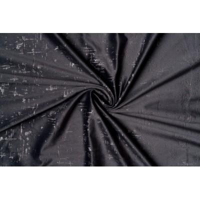 Едноцветен плат за плътна завеса тип кадифе в сиво с шарка