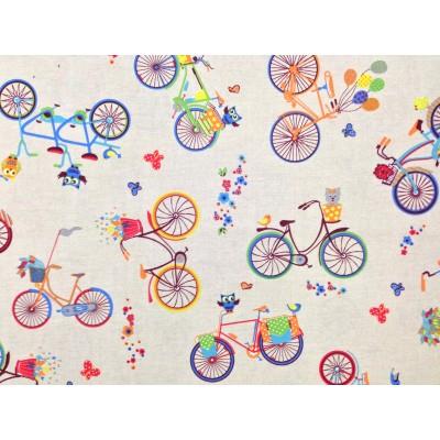 Плат за плътна детска завеса с колела и бухали