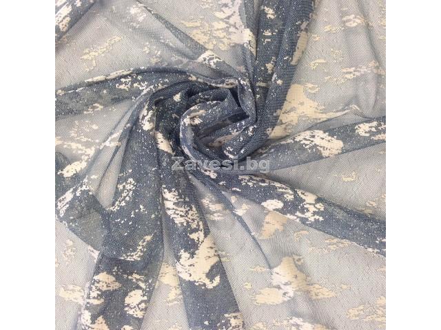 Плат за тънко перде в синьо с фистон