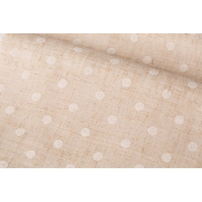 Плат за тънко перде натурален лен на бели точки
