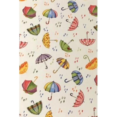 Плат за плътна детска завеса с шарени чадърчета