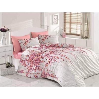 Единичен спален комплект от ранфорс Time pink