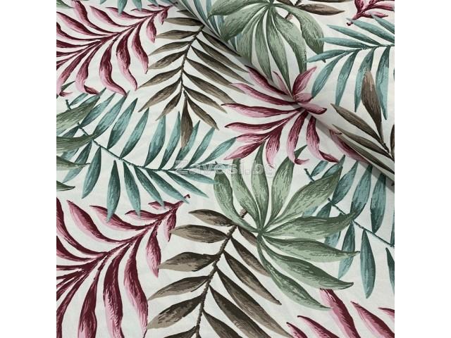 Плат за плътна завеса и дамаска с тропически листа в розово и зелено