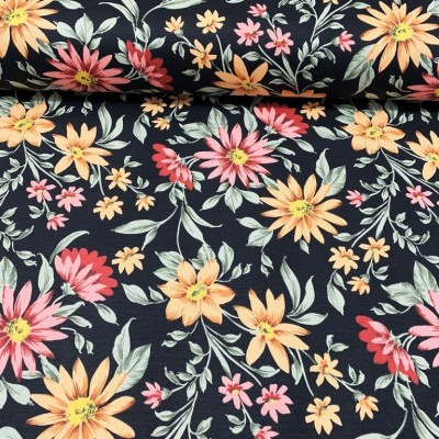 Curtain and upholstery with flowers in red and orange on black background