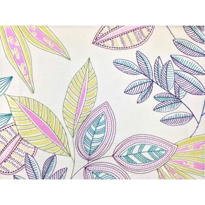 Плат за плътна завеса с бродерия Листа в лилаво и зелено