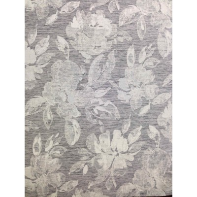 Curtain with flowers on grey background