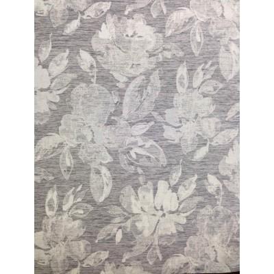 Плат за плътна завеса с цветя на сив фон