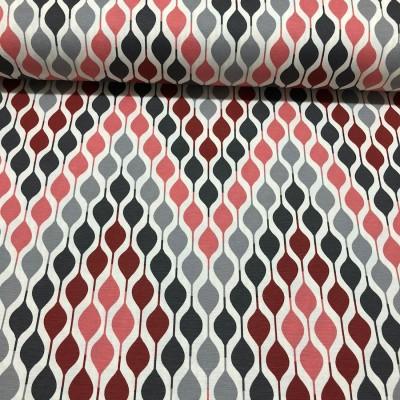 Дамаска с геометрични форми в сиво и малиново